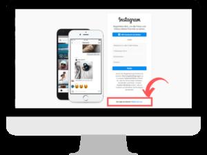 Monitor zeigt Browserfenster mit Anmeldeformular zu Instagram
