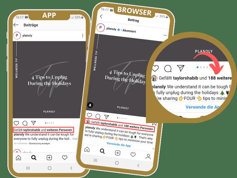 Handys zeigen App- und Browser-Ansicht von Instagram